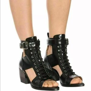 Chloe Rylee cut-out black leather open toe boots